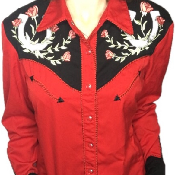 8f3764f6deac3a Scully Women's M western shirt red roses horseshoe.  M_5c31562a1e2d2d6170d03b5b